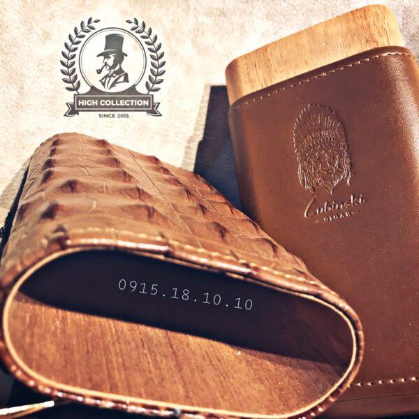 Ống Đựng Cigar Lubinski 3 Điếu Lõi Gỗ 5004