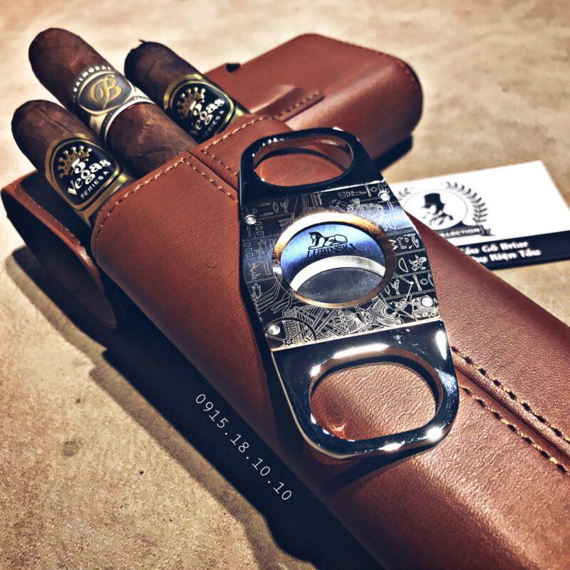 Ống Đựng Cigar Lubinski 3 Điếu Kèm Dao HY-3305L